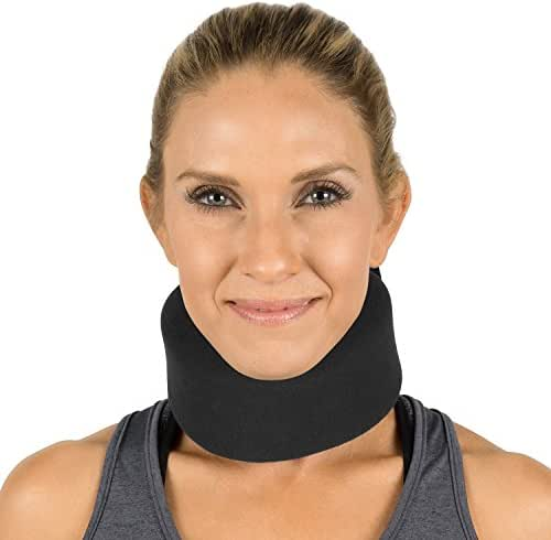 Vive Neck Brace - Soft Foam Cervical Collar - Vertebrae Whiplash Wrap Aligns and Stabilizes Spine - Adjustable Spinal Support Can Be Used While Sleeping and Relieves Pain, Pressure (Thin, Black)