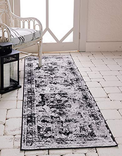 Unique Loom Sofia Collection Area Rug, 2' x 10' Runner, Black from Unique Loom