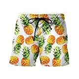 Willsa Mens Casual Printed Beach Work Shorts Loose Comfortable Tennis Sports Short Pants (L, Yellow)