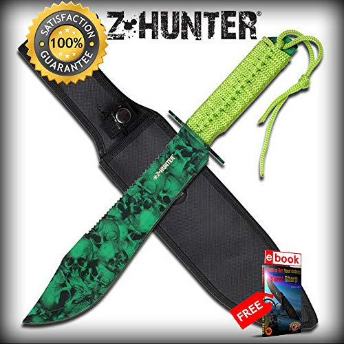 Z-Hunter Classic Outdoor Hunting SHARP KNIFE Green Zombie Camo Dead Walking Combat Tactical Knife + eBOOK by Moon Knives for $<!--$43.65-->