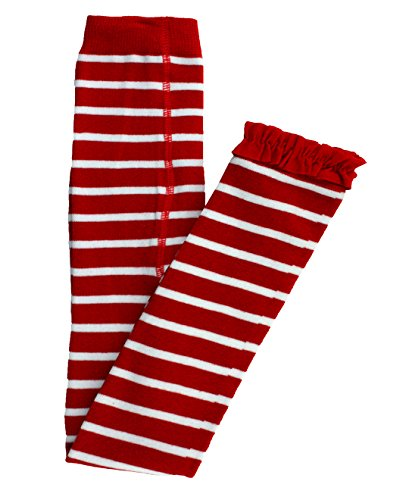 RuffleButts Baby/Toddler Girls Red and White Stripe Footless Tights w/Red Ruffles - -
