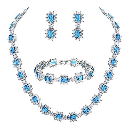 BriLove Wedding Bridal CZ Necklace Bracelet Earrings Jewelry Set for Women Multi Emerald Cut Halo Collar Necklace Tennis Bracelet Dangle Earrings Set Aquamarine Color Silver-Tone March Birthstone