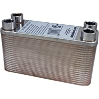 """Duda Energy HX1240:F12 B3-12A 40 Plate Stainless Steel Heat Exchanger with 1/2"""" Female NPT Ports Copper Brazed, 3.8"""" Height, 2.9"""" Width, 7.5"""" Length"""