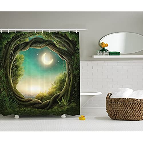 Ambesonne Kids Shower Curtain Bathroom Decor By Trees With Fairy In Artistic Artwork Girls Boys And Family Enchanted Forest Full Moon Fabric Accessories