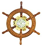 Benzara Deco 79 01193 Wood Ships wheel Clock 20″ D
