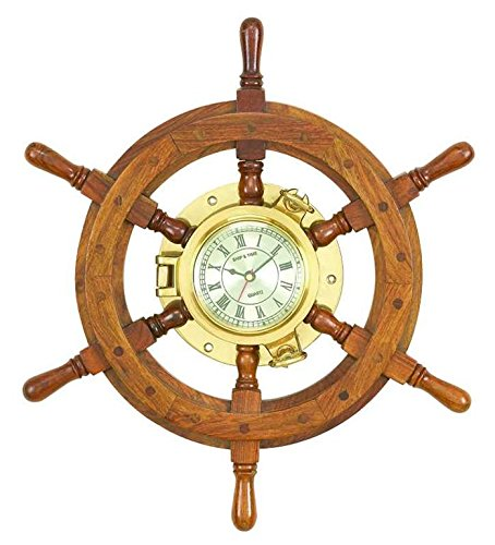 3 Wood Ships wheel Clock 20