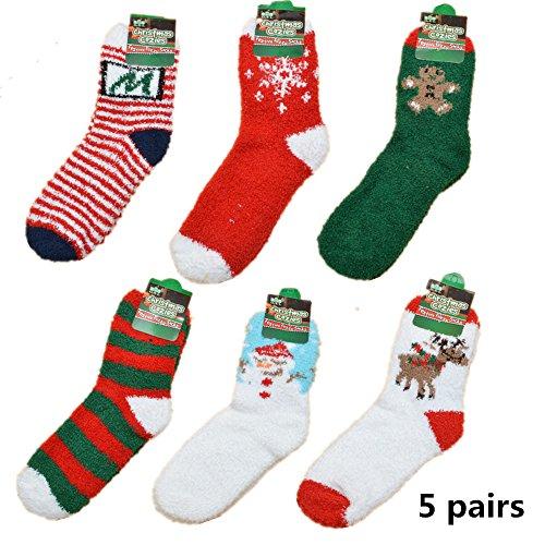 Yanekop Womens 5 Pairs Winter Warm Fuzzy Socks Thick Knit Wool Cozy Sleep Crew Socks