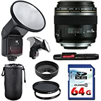 Canon EF-S 60mm f/2.8 Macro USM Lens Bundle + Commander UV Filter + Polarizer Filter + 2 In 1 Lens Cleaning Pen + High Speed 64GB Memory Card + Rubber Hood + Manual Flip Flash + Deluxe Lens Case