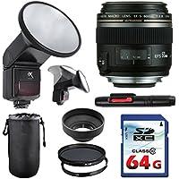 Canon EF-S 60mm f/2.8 Macro USM Lens Bundle + Commander UV Filter + Polarizer Filter + 2 In 1 Lens Cleaning Pen + High Speed 64GB Memory Card + Rubber Hood + Manual Flip Flash + Deluxe Lens Case