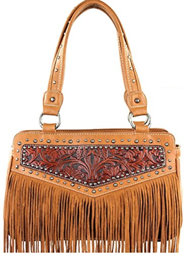 : Montana West Brown Fringe 2015 Collection Concealed Weapon Hand Bag Mw181-8247br