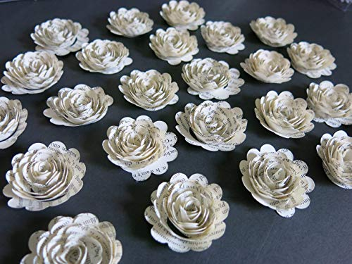 Scalloped Book Page Roses, Paper Flowers Wedding Decorations, 24 Piece Set, Mini 1.5