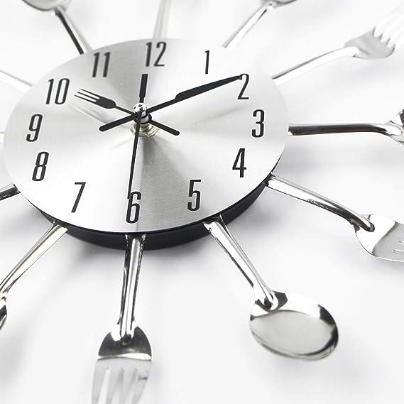 Amazon.com: CHTOP Cutlery Metal Kitchen Wall Clock - Spoon Fork Creative Quartz Wall Mounted Clocks - Modern Design Decorative Horloge Murale (Silver): Home ...