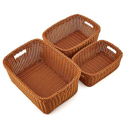 EZOWare Set of 3 Plastic Waterproof Storage Weaving Baskets Bins Organizer with Handle for Towels, Toys, Baby, Kids, Home Decor - Brown
