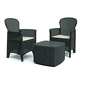 DMORA 8052773491754 Set da Giardino con Cuscini, 2 Poltrone e 1 Tavolino Contenitore da Esterno, Made in Italy… 12 spesavip