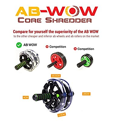 AB-WOW Ab Roller plus Bonuses - XL Wheels Support up to 500 Lbs, Knee Pad, Resistance Bands, Comfort Grips, Travel Bag - Perfect Exercise Machine for Pro Abdominal Workout