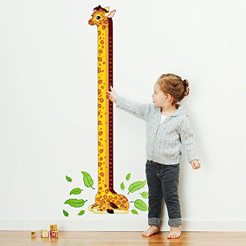Personalized Giraffe Growth Chart Wall Decal for Nursery, Kids Room