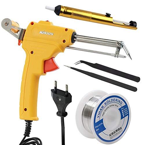 110-230V Manual Soldering Machine Household Electric Iron Set Handheld Soldering Iron Rework Station Soldering Tool Kit (Yellow - UK) (Best Gas Soldering Iron Uk)