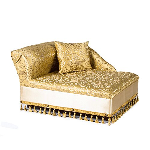 Dog Chaise Lounge - Keet Mini Chaise Elegant Gold Pet Bed