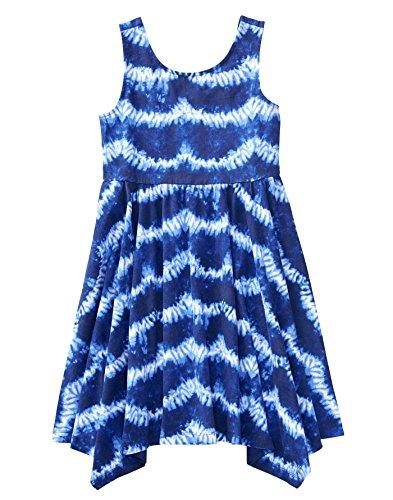 Gymboree Little Girls' Sleeveless Printed Handkerchief Dress, Blue Shibori, S from Gymboree