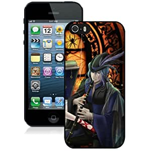 Popular And Unique Designed Cover Case For iPhone 5S With Boy Girl Music Magic Flute black Phone Case