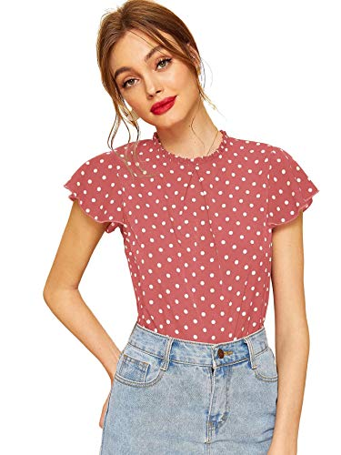 WDIRARA Women's Pleated Neck Polka dot Butterfly Sleeve Frill Trim Blouses Pink-1 ()