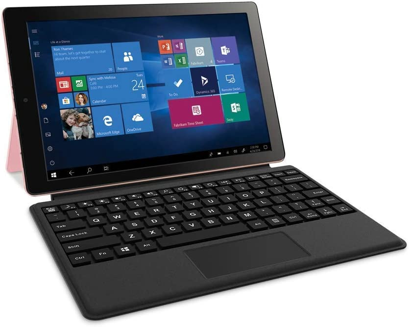 RCA Cambio 10.1 inches 2 in 1 32GB Tablet with Windows 10, Intel Atom Z8350 2GB RAM, Includes Keyboard (Rose Gold) (Renewed)