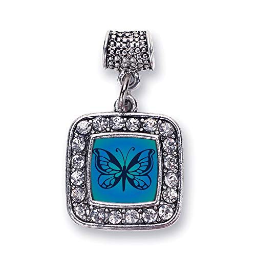 Inspired Silver - Blue Butterfly Memory Charm for Women - Silver Square Charm for Bracelet with Cubic Zirconia Jewelry