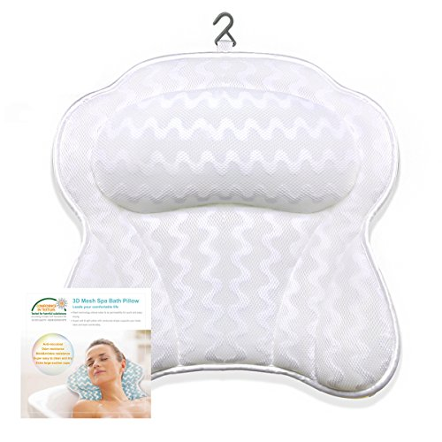 Luxury Non-Slip Bath Pillow with 6 Strong Suction Cups for Tub, Extra Large Size Pillow Bath Cushion for Bathtub, Hot Tub, Jacuzzi, Home Spa Pillow Support for Head, Neck, Back - Your Head You Can Of The Change Shape