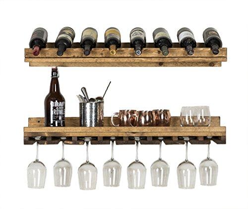 del Hutson Designs - Rustic Luxe Tiered Wine Rack, USA Handmade, Pine Wood (Dark Walnut) by del Hutson Designs