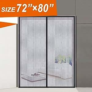 Magnetic screen door wide mega french door mesh 72 x 80 for Magnetic mesh screen for french doors