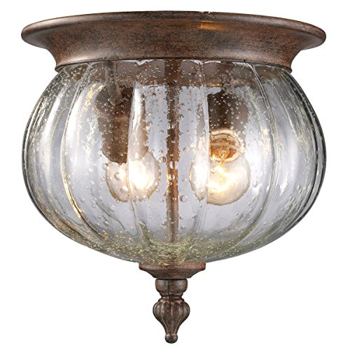 Outdoor Wall Sconces 2 Light with Weathered Bronze Finish Aluminum Medium Base Bulb 10 inch 120 Watts
