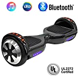 "NHT 6.5"" Hoverboard Electric Self Balancing Scooter Sidelights - UL2272 Certified Black, Blue, Pink, Red, White (102 Black)"