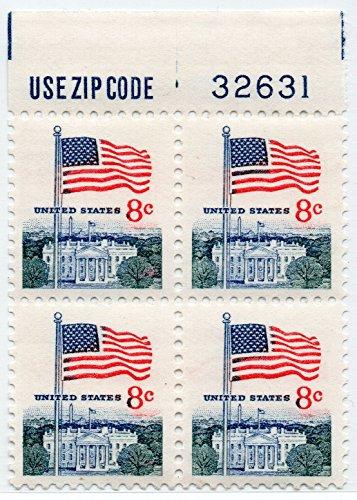 U. S. Stamp 1967 Scott 1338 Flag And White House MNH Block (Stamps Mnh Flag)