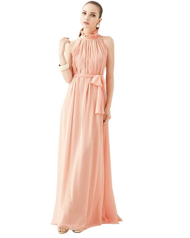 Medeshe Peach Pink Chiffon Long Bridesmaid Maxi Dress at Amazon ...