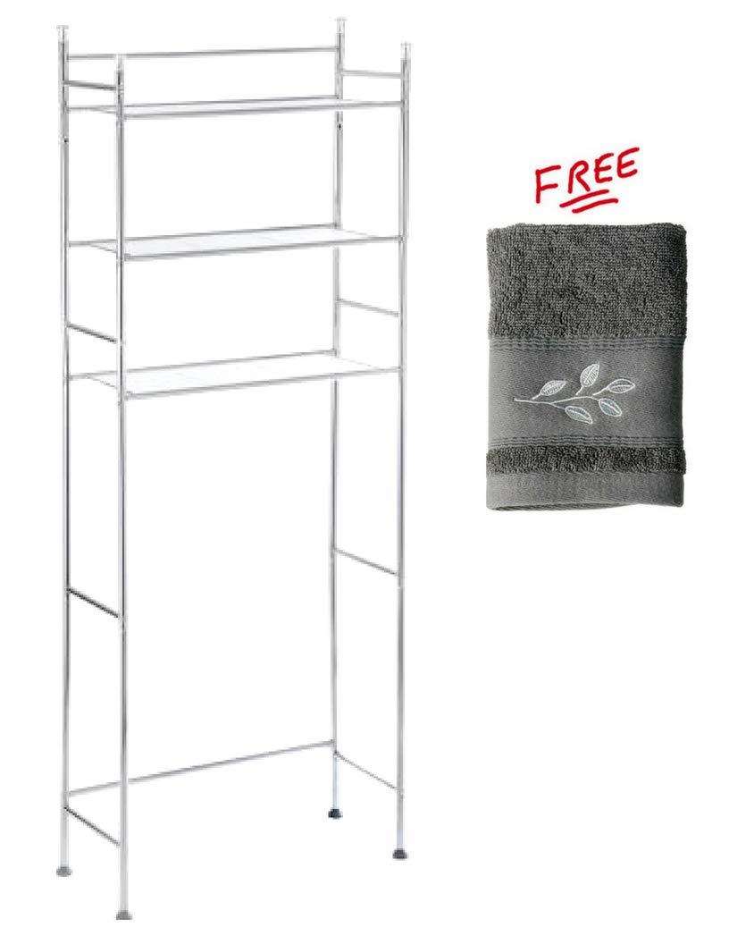 Mainstay.. 3-Shelf Bathroom Space Saver Storage Organizer Over The Rack Toilet Cabinet Shelving Towel Rack in Chrome Finish