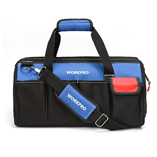WORKPRO 18-inch Close Top Wide Mouth Storage Tool Bag with Adjustable Shoulder Strap by WORKPRO