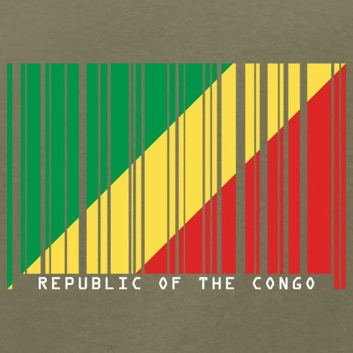 Republic of the Congo / Republik Kongo Barcode Flagge - Herren T-Shirt - Khaki - XS