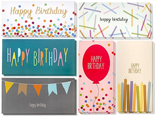 - 36-Pack Birthday Cards Box Set, Happy Birthday Cards - Balloons, Candles, Confetti Designs Birthday Card Bulk, Envelopes Included, 3.5 x 7.25 Inches ()