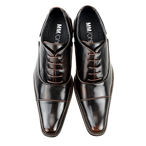 MM/ONE Oxford shoes Double Monk strap mens Dress Shoes Cap toe Medallion Lace up Wingtip Side Plain Toe Slip On Formal Straight Tip shoes Dark Brown, 40 EU (US Men's 8 M)