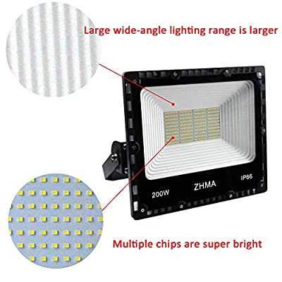 ZHMA 200W LED Flood Light Outdoor, 18000lm Super Bright Work Lights, IP66 Waterproof Security Light with Plug & Switch, 6500K White Spotlight for Garden, Yard, Garage, Basketball Court Lighting
