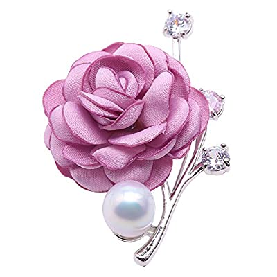 JYX Fine Brooch Rose-style 12mm White Freshwater Pearl Brooch for cheap