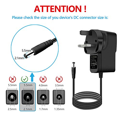 12V 1A Power Supply,Cshare 12W AC to DC Power Adapter with 7 Tips,UK Switching Power Plug with DC Jack 5.5 * 2.5mm for LED Strip Lights,Security Camera Monitor,Speaker,TV Box,WiFi Routers,Door Bell