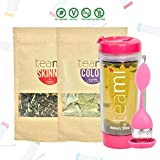 30 Day Detox Tea Kit for Teatox & Weight Loss to get a Skinny Tummy by Teami Blends | Our Best Colon Cleanse Blend to Raise Energy, Boost Metabolism, Reduce Bloating! (Big PinkTumbler & Infuser)