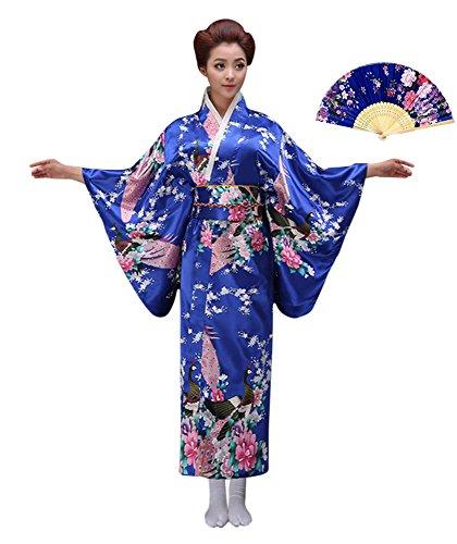 CRB Womens Girls Kimono Japanese Asian Top Dress Robe Sash Belt Fan Set (Extra Small, Blue) ()