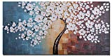 Wieco Art – Blooming life 100% Hand-painted Oil Painting, Stretched and Framed Modern Canvas Wall Art for Home Decor Floral Oil Paintings on Canvas Art 20 by 40 inch Picture