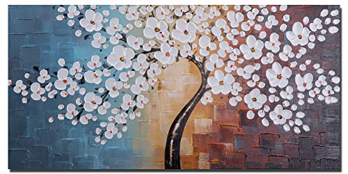 Wieco Art Blooming life Large Modern Stretched and Framed White Flowers Artwork 100% Hand Painted Floral Oil Paintings on Canvas Wall Art Ready to Hang for Living Room Bedroom Home Decorations L - High quality 100% Handmade grace home oil paintings on canvas painted by our professional artist with years of oil painting experience. A great gift idea for your relatives and friends. One piece big gallery wrapped horizontal perfect impressionist floral canvas oil paintings wall art setready to hang for home decorations wall decor, each panel has a black hook already mounted on the wooden bar for easy hanging out of box. Home art size:40x20inch (100x50cm). - wall-art, living-room-decor, living-room - 51t0P%2BvUJnL -