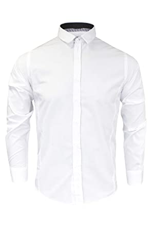 Mens Brave Soul Plain White Long Sleeve Shirt  Amazon.co.uk  Clothing 5ed5261e5e1