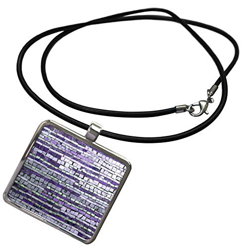 3dRose InspirationzStore - Tile Graphics - Image of Striped Purple Mosaic Lilac Violet Squares in Stripe Pattern - Necklace with Rectangle Pendant ()