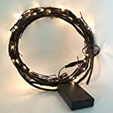 BABALI 6ft LED Lighted Twig Garland Battery Operated 60 Warm White Decor. Lighted Willow Vine Branches Brown Wrapped Crafts Timer