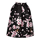 Women's/Big Girls' Flared Pleated Skater Midi Skirt Peach Blossom Knee Length Black Fit For Over 14 Years Old